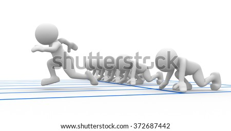3d people - man, person at starting line. Athlete - sports.  - stock photo