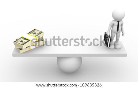 3d people - man, person ( businessman) in balance with pile of dollar - stock photo