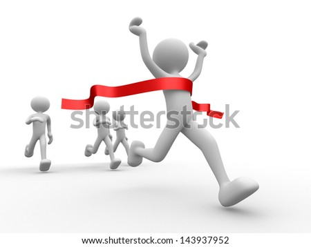 3d people - man, person crossing the finishing line. Winner - stock photo