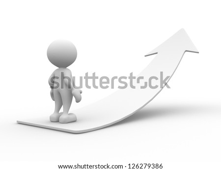 3d people - man, person going up on the white arrow. - stock photo