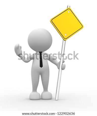 3d people - man, person holding the empty road sign. - stock photo