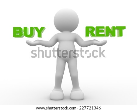 3d people - man,  person holding words buy and rent - stock photo