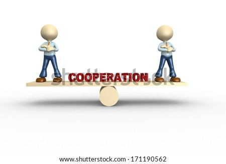 3d people - man, person in balance. Cooperation - stock photo