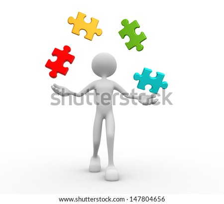 3d people - man, person juggle with pieces of puzzle - stock photo