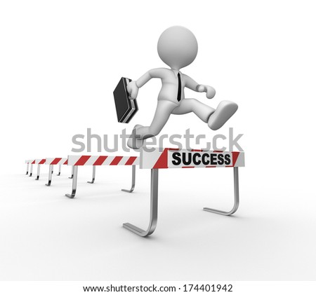 3d people - man, person jumping over a hurdle obstacle entitled success