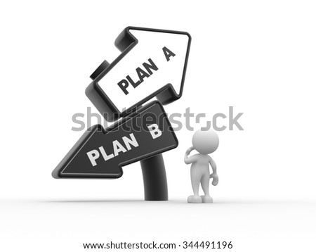 3d people - man , person looking up at a road sign post reading plan a and plan b - stock photo