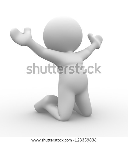 3d people - man, person on his knees praising. Happy pray. - stock photo
