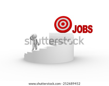 3d people - man, person on stairs. Jobs - stock photo