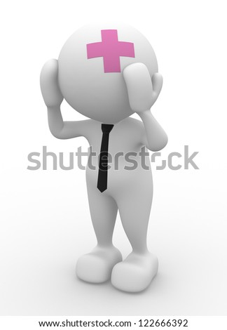 3d people - man, person - pain, worried. Sad and headache. Stress concept , depressed. - stock photo