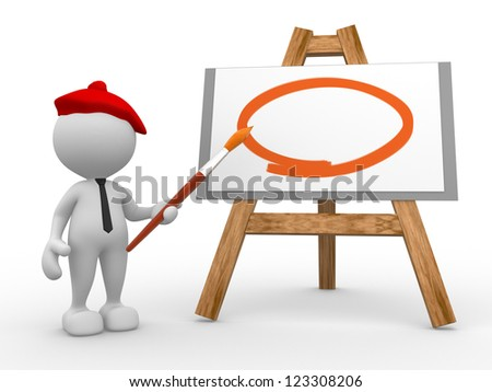 3d people - man, person painting on a canvas on an easel. - stock photo