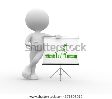 3d people - man, person pointing a flipchart with a drawing - house