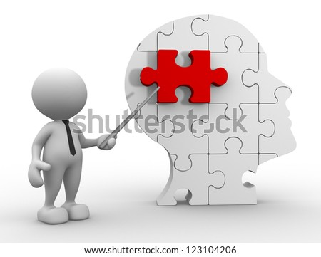 3d people - man, person pointing a human head of pieces puzzle.
