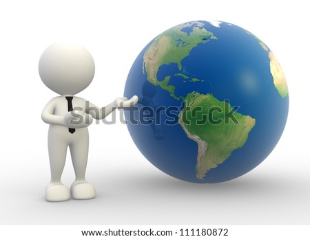 3d people -  man, person present a earth globe. - stock photo