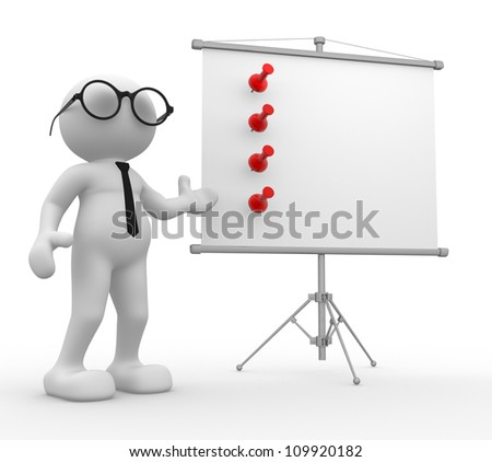 3d people - man, person presenting at a flip-char - stock photo
