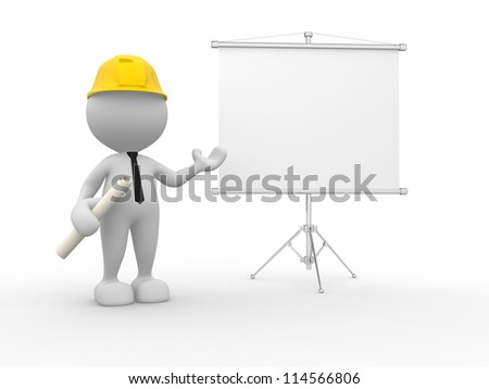 3d people - man, person presenting at a flip-chart. Businessman. Builder - stock photo