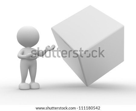 3d people - man , person presenting blank cube . Concept of message. - stock photo