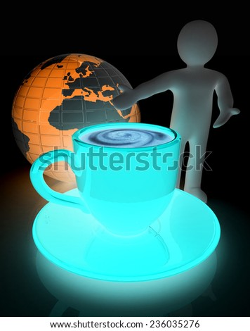 3d people - man, person presenting - Mug of coffee with milk. Global concept with Earth - stock photo
