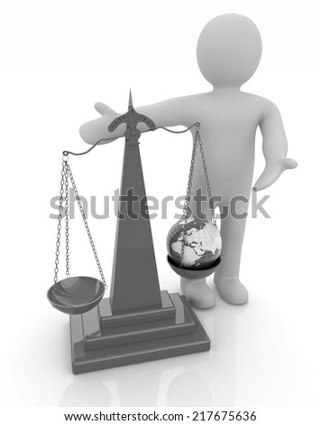3d people - man, person presenting the philosophical concept: Earth lighter than vanity - stock photo