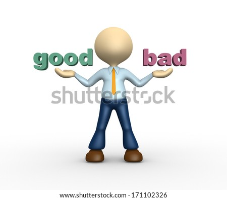"3d people - man, person presents ""good"" and ""bad"" words  - stock photo"