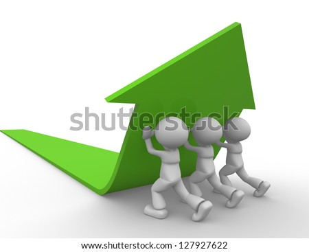 3d people - man, person pushing green arrow. To success - stock photo