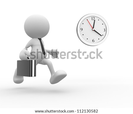 3d people - man,  person running. Businessman and a clock - stock photo
