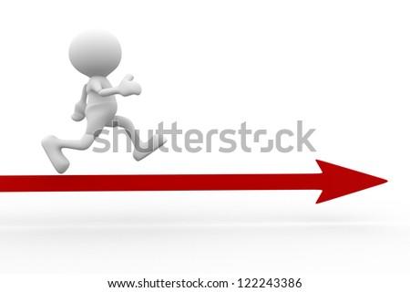3d people - man, person running on arrow. Success - stock photo