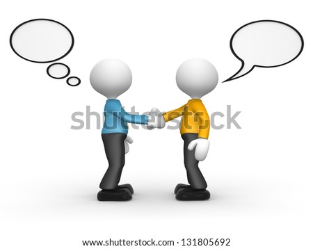 3d people - man, person shaking hands with speech bubbles