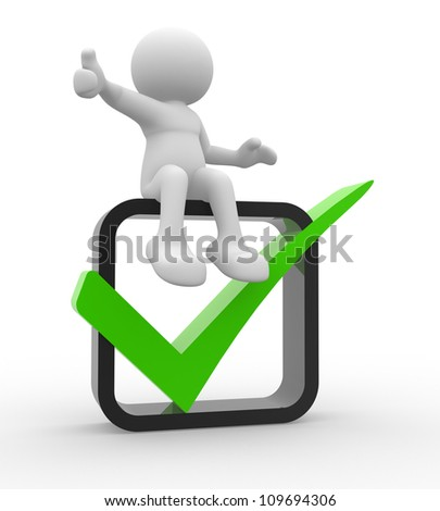3d people -  man, person showing thumb up with green check mark in box. - stock photo