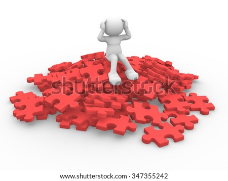 3d people - man, person sits over on a pile of puzzle pieces - stock photo