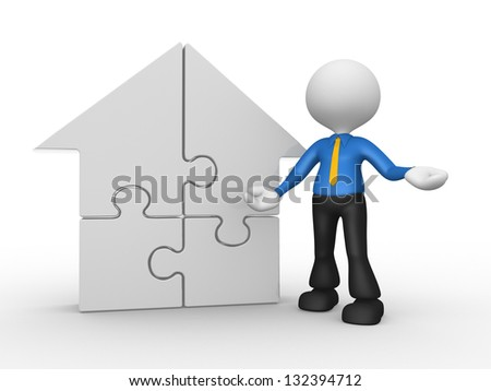 3d people - man, person supported by a house pieces of puzzle. jigsaw - stock photo
