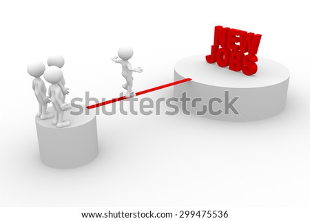 3d people - man, person walking on the wire. New Jobs - stock photo