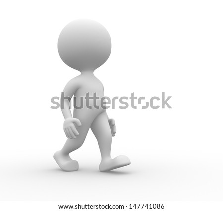 3d people - man, person walks - stock photo