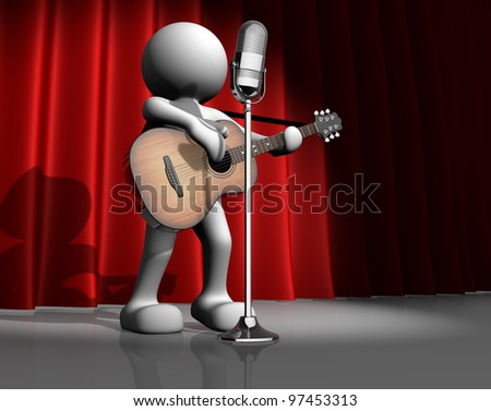 3d people - man, person with a acoustic guitar. Guitarist on stage at a microphone