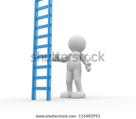 3d people - man, person with a big ladder.