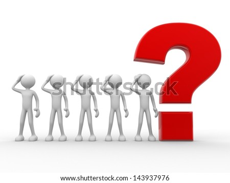 3d people - man, person with a big question mark - stock photo