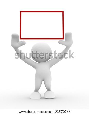 3d people - man, person with a blank frame - stock photo