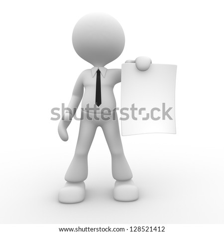 3d people - man, person with a blank paper. Businessman