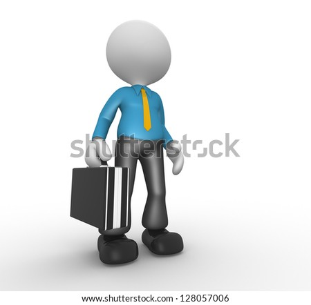 3d people - man, person with a briefcase and a tie. Businessman - stock photo