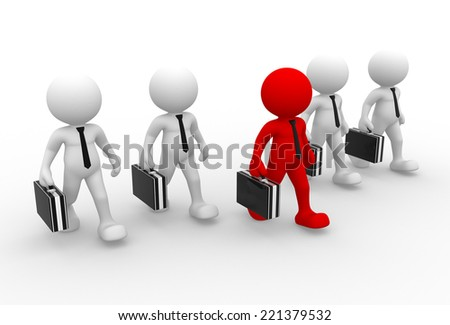 3d people - man, person with a briefcase. Businessman. Teamwork - stock photo