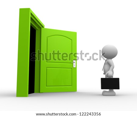 3d people - man, person with a briefcase standing in front of open door