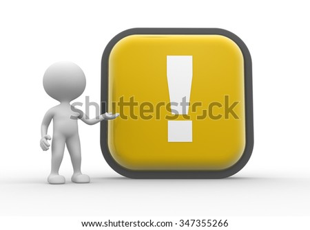 3d people - man, person with a button and exclamation mark - stock photo