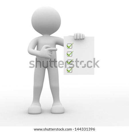 3d people - man, person with a checklist. Businessman. - stock photo