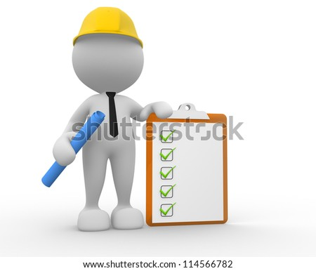 3d people - man, person with a clipboard. Businessman. Builder - stock photo