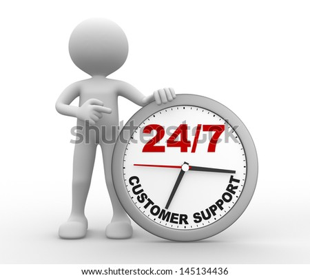 "3d people - man, person with a clock  and text "" customer support 24/7 """