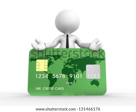 3d people - man, person with a credit card - stock photo
