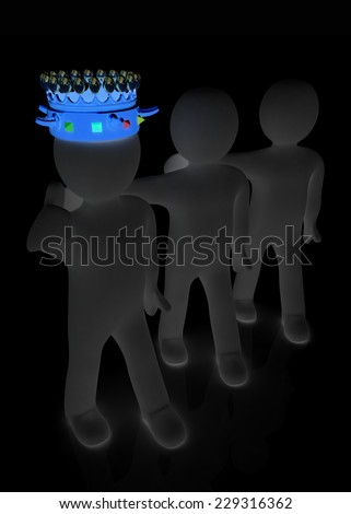 3d people - man, person with a crown and 3d man - stock photo
