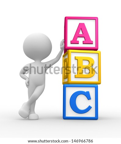 3d people - man, person with a cubes and ABC - stock photo
