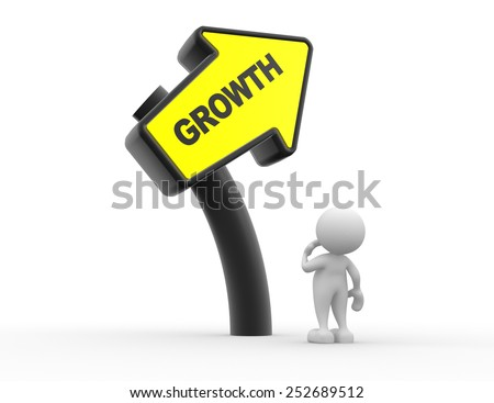 3d people - man, person with a direction sign and text growth. Confusion - stock photo