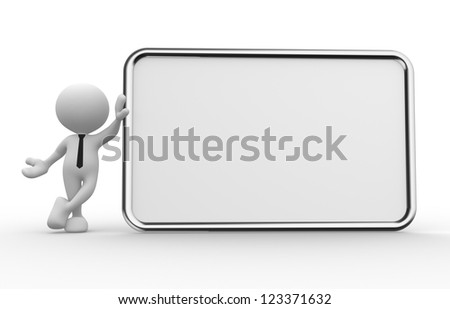 3d people - man, person with a empty signboard - stock photo