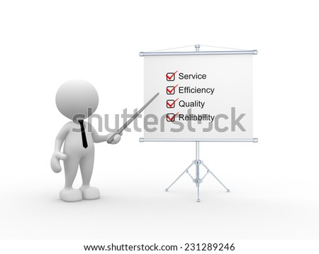 3d people - man, person with a flip chart. Evaluation concept  - stock photo